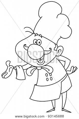 Outlined friendly chef presenting with his hand. Vector illustration coloring page.