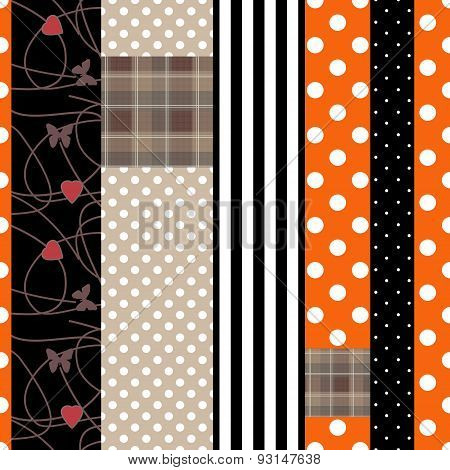 Patchwork Design Pattern Background With Decorative Elements