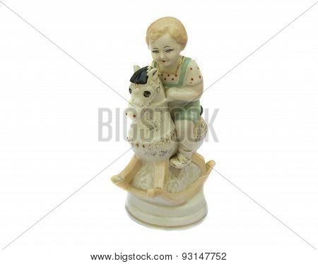 The Boy On The Horse, Vintage Porcelain Figurine. Isolated On White Background