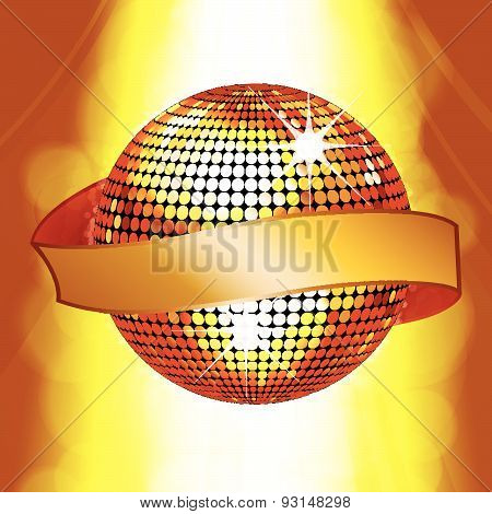 Disco Ball With Banner On Glowing Background