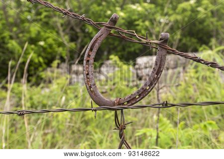 horseshoe on barbed wire fence