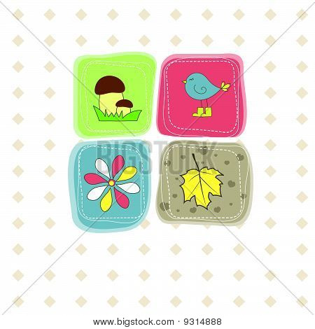 Bird, flower,leaf,mushroom . Vector illustration
