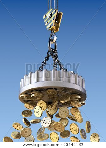 Lifting magnet attract money concept