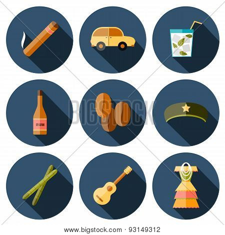 Set of flat colorful icons on Cuba theme