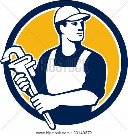 Plumber Wielding Monkey Wrench Circle Retro