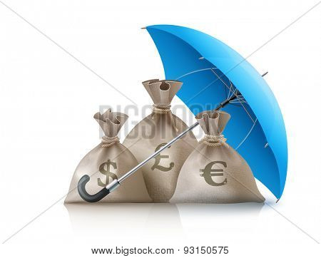 Umbrella protecting sacks with money currencies dollar euro and pound. Eps10 vector illustration. Isolated on white background