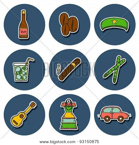 Set of cute hand drawn colorful stickers on Cuba theme