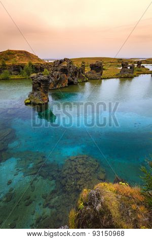 Volcanic rock formations in Lake Myvatn in Northern Iceland