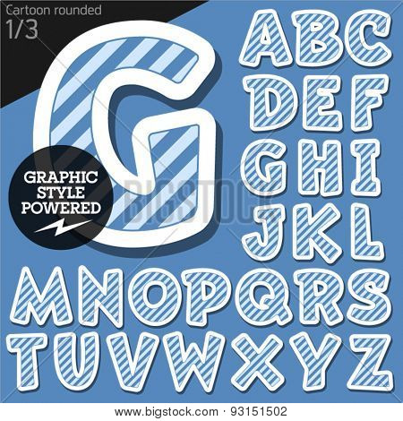Vector children alphabet set in blue marine striped style. File contains graphic styles available in Illustrator. Uppercase letters