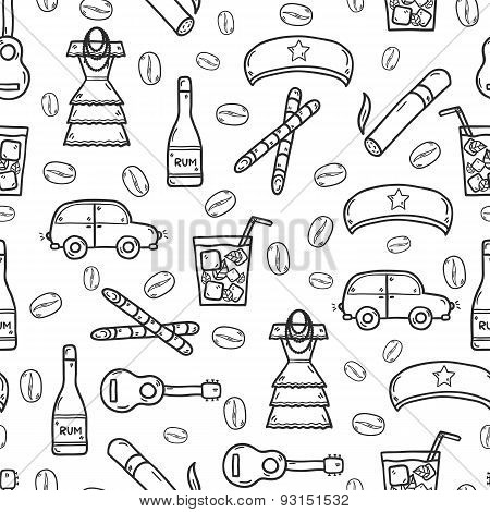 Seamless background with cute hand drawn objects on Cuba theme