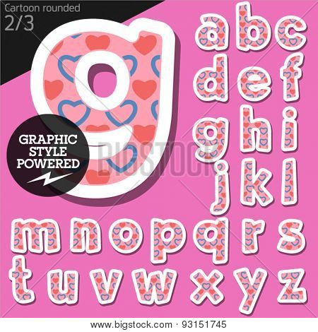 Vector children alphabet set in flirty pink heart style. File contains graphic styles available in Illustrator. Lowercase letters