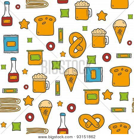 Seamless background on gluten products theme with cute hand drawn objects: bread, pastry, pasta, bee