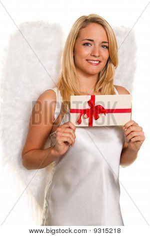 Engel für Weihnachten mit Pakete und Geschenke.