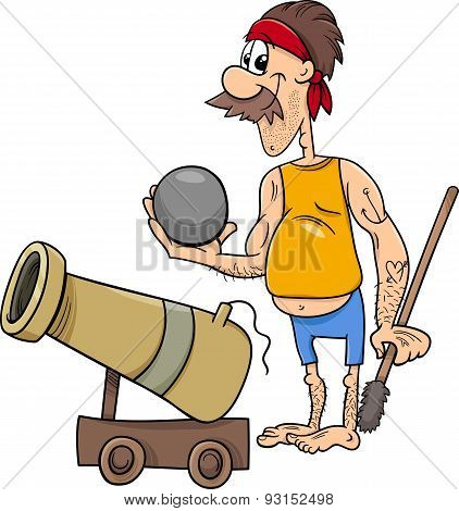 Pirate With Cannon Cartoon Illustration