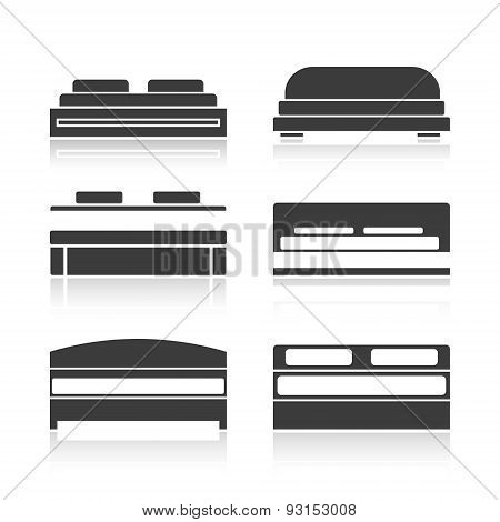 Set Of Black Silhouettes Bed