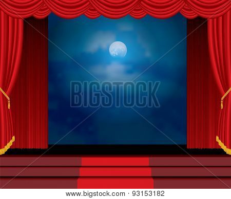 moonlight on red curtain stage with stairs