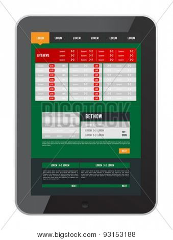 Digitally generated Sports betting app on tablet screen vector