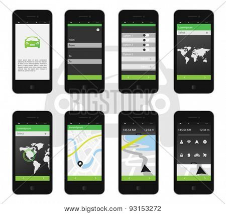 Digitally generated Map app interface on phone screen