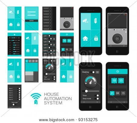 Digitally generated Home automation app interface