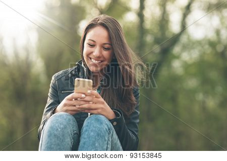 Cheerful Woman Relaxing In Nature