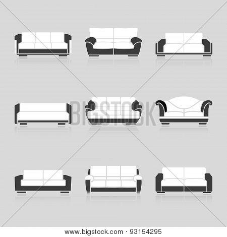 Set Of Black And White Sofas