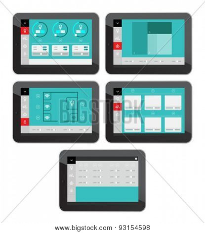 Digitally generated Home security app interface on tablet screen