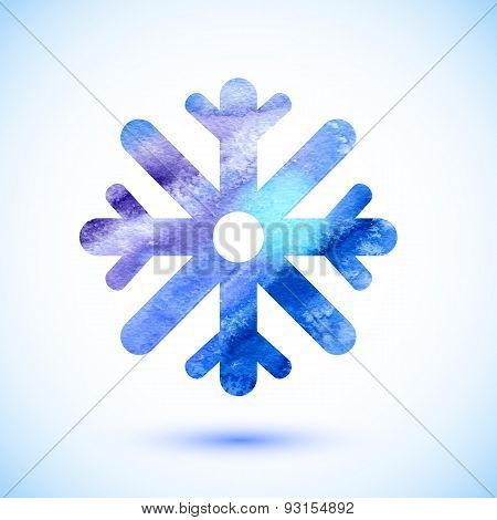 Watercolor blue snowflake. Christmas element.