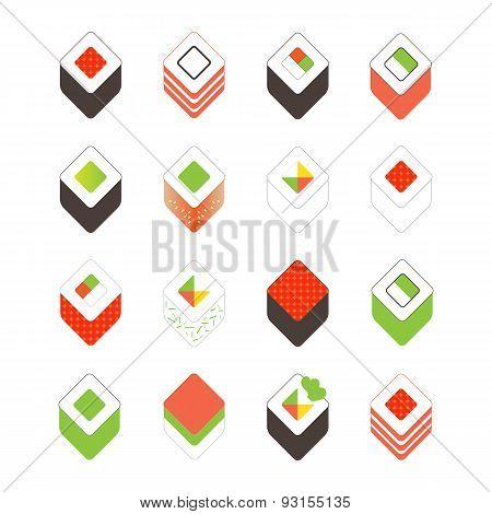 Sushi set. Flat design elements isolated on white background.