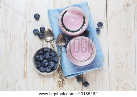 Fresh yogurt with blueberries