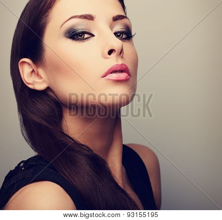 Beautiful Perfect Makeup Woman Looking With Smoky Eyes. Color Closeup Portrait