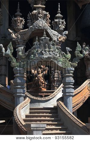 fully wooden sanctuary of truth in Thailand