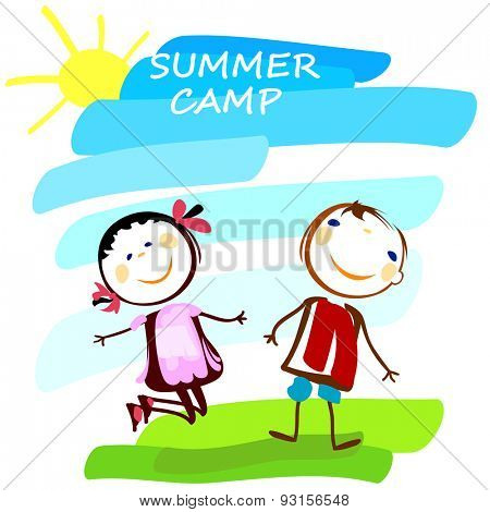 summer camp poster with happy boy and girl