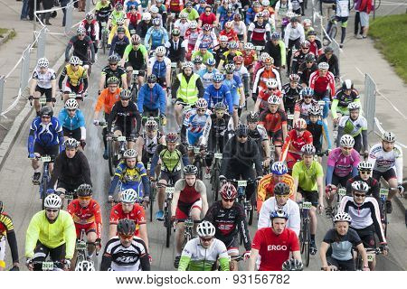 RIGA, LATVIA - MAY 31, 2015: Mass start of Riga Cycling Marathon Folk Distance (31.6km).
