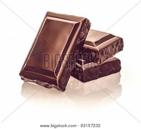 Chocolate Blocks Stack On White Background