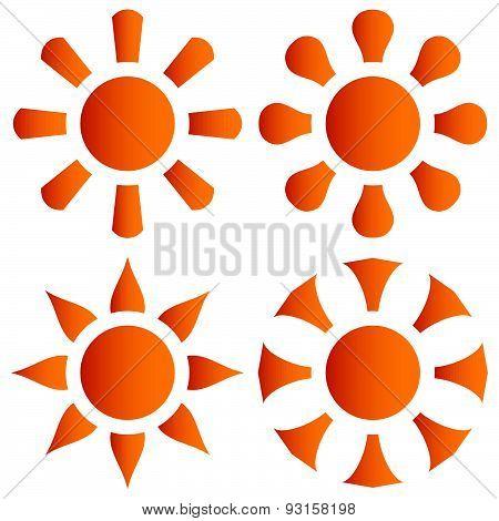 Vector Set Of Orange Sun