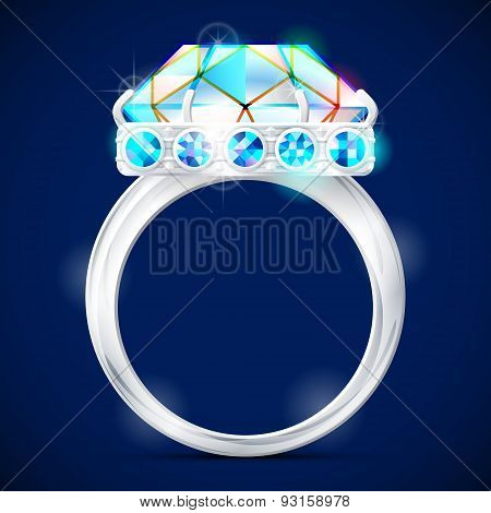 Silver Ring With Diamond Against Dark Background