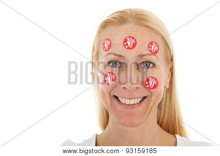 Middle aged woman happy with reduced prices