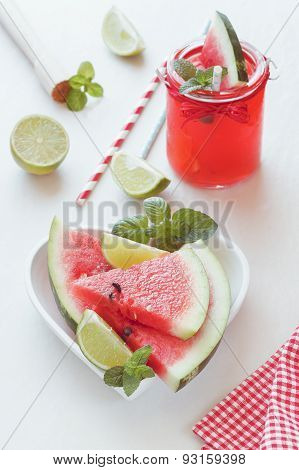 Fresh watermelon with juice
