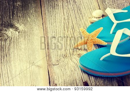 Summer Holiday Setting With Flip Flops