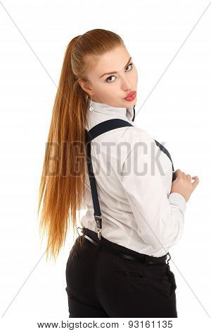 Portrait Of Beautiful Young Woman In Strict Clothing With Bow Tie Isolated On White