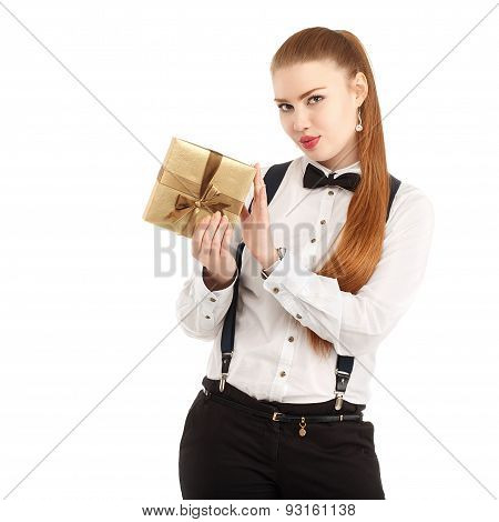 Portrait Of Beautiful Young Woman In Strict Clothing With Bow Tie