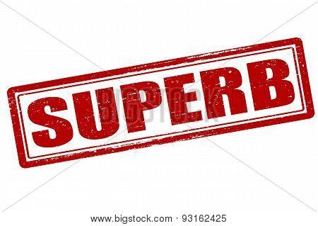 Rubber stamp with word superb inside vector illustration