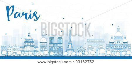 Outline Paris skyline with blue landmarks. Vector illustration