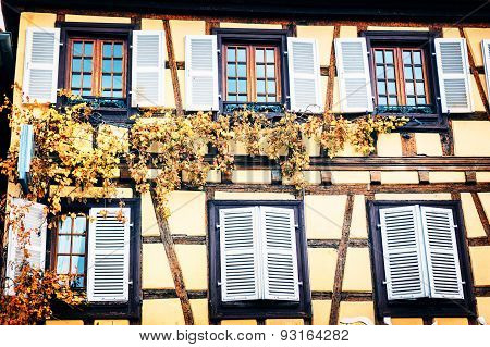 Details Of Traditional Timber Frame House. Alsace, France