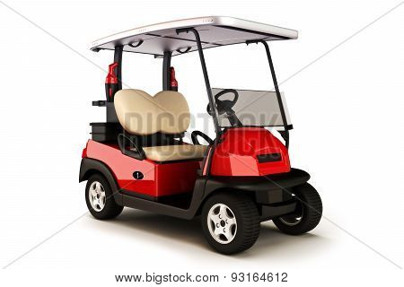 Red colored golf cart on a white isolated background