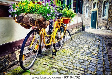 Old Rusty Bicycle With Flowers