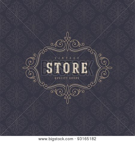 Logo template with flourishes calligraphic elegant ornament elements. Identity design for store or cafe, shop, restaurant, boutique, fashion and etc.