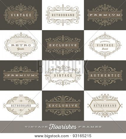 Set of vintage logo template with flourishes calligraphic elegant ornament frames - Vector illustration