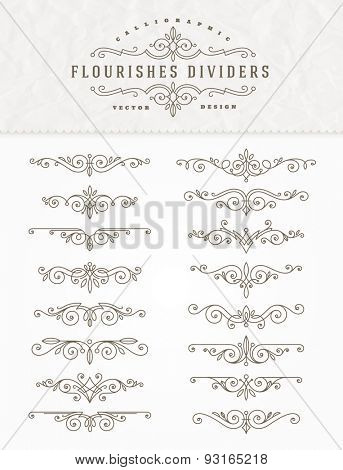 Set of flourishes calligraphic elegant ornament dividers - vector illustration