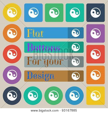Ying Yang  Icon Sign. Set Of Twenty Colored Flat, Round, Square And Rectangular Buttons. Vector